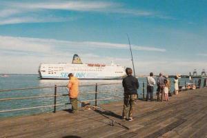 St Nicholas Sealink Ferry Leaving Harwich Sea Harbour Fishing Rod Essex Postcard