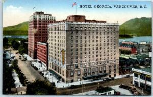 Vancouver B.C. Canada Postcard HOTEL Georgia Bird's-Eye Street View 1940 Cancel