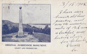 VICKSBURG , Mississippi , 1905 ; Surrender Monument , Grant & Pemberton