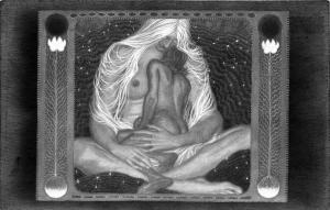 Mutter Nacht von Fidus 1923 Exotic Nudes Postcard