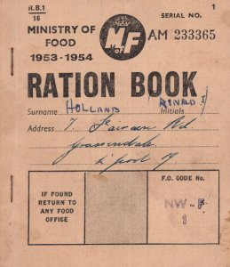 Ministry of Food 1953 Liverpool Ration Book