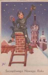 Polish Santa Claus Type Robber Going Down Chimney Poland Christmas Postcard
