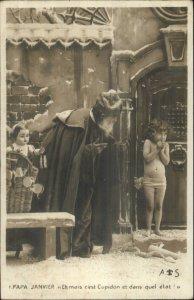 Christmas - Santa Claus & Cold Child c1900 Real Photo Postcard PAPA JANVIER