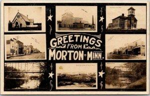 1908 MORTON, Minn. RPPC Photo Postcard Multi-View / Roller Mill / Indian Church