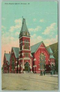 Decatur Illinois~First Baptist Church~Dear Sister~From RR Deal~c1912 Postcard