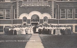 Reinbeck Iowa~Garrett Biblical Institute~Victorian Students Outside~1909 RPPC