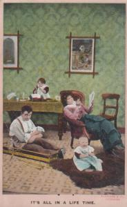 Parents & Too Many Children Huge Family Worn Out Antique Comic Humour Postcard