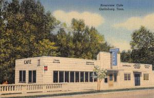 Gatlinburg Tennessee Riverview Cafe Linen Vintage Postcard K29167