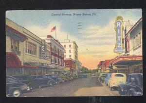 WINTER HAVEN FLORIDA DOWNTOWN STREET SCENE 1940's CARS VINTAGE POSTCARD