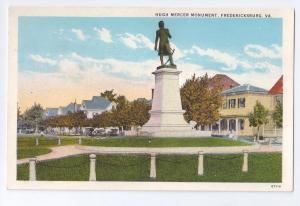 Fredericksburg VA Hugh Mercers Monument Virginia Postcard
