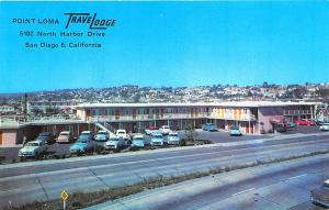 San Diego CA Motel Old Cars Postcard