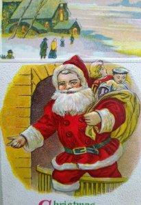 Vintage Christmas Greetings Postcard Santa Claus Series 645 Embossed Original