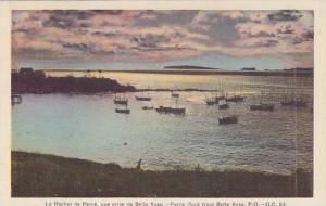 Hand-Colored, Sailboats at sunset, Perce Rock  from Belle Anse, Province of Q...
