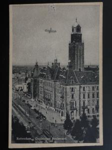 Netherlands: Rotterdam Goolsingel Boulevard with pencil drawn plane Old Postcard