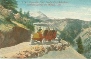 Inspiration Point Crystal Park Auto Rd Colorado Springs & Manitou CO Postcard