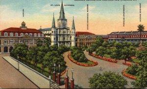 Louisiana New Orleans Jackson Square and Cabildo Curteich