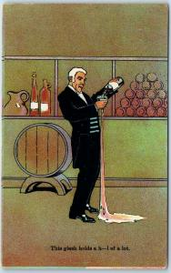POND'S BITTERS Advertising Postcard This Glass Holds a H--- of a Lot c1910s