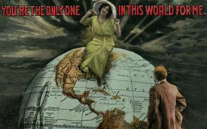 GLOBE ROMANTIC COUPLE 1916 EXAGGERATED ANTIQUE POSTCARD montage collage