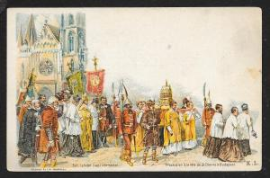 HUNGARY St Stephen Festival Procession in Budapest Unused c1896