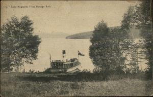 Steamer Boat Ship Lake Megantia or Megantic From Ramage Park c1910 Postcard