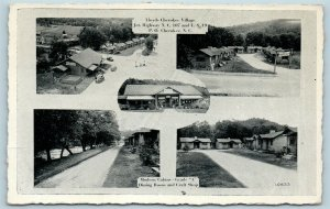 Postcard NC Ela North Carolina Multiview Lloyds Cherokee Village Cabins 1940 AB3