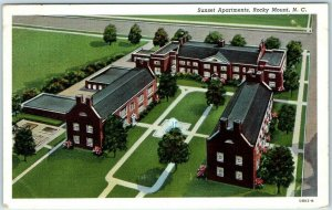 Rocky Mount, North Carolina Postcard SUNSET APARTMENTS Aerial View Linen c1940s