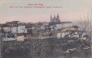 Czechoslovakia Gruss Aus Prag Blick Auf Dem Strahower KLostergarten Gegen Hra...