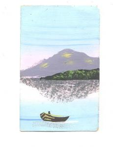 Hand Painted Watercolour Boat and Mountain Germany