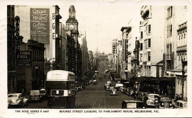australia, MELBOURNE, Vic., Bourke Street, Car Bus (1954) The Rose Series RPPC