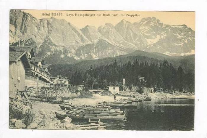 Hotel EIBSEE (Bayr. Hochgebirge) mit Blick nach der Zugspitze, Germany, 00-10s