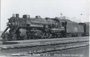 RPPC of Boston & Maine # 3696 4-6-2 Steam Locomotive, Kodak Paper Real Photo