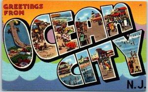 Vintage OCEAN CITY NJ Large Letter Postcard Tichnor Linen #70607 w/ 1961 Cancel