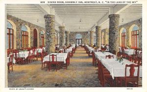 Montreat North Carolina~Assembly Inn Dining Room Interior~1930 Postcard