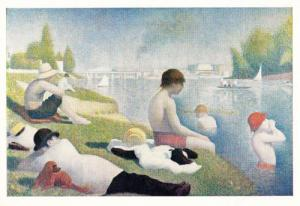 Georges Pierre Seurat Une Baignade French London Art Gallery Painting Postcard