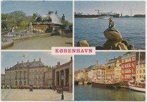 KOBENHAVN, COPENHAGEN, multi view, 1982 used Postcard