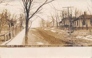 Oakland Iowa~East Oakland Avenue Homes~Mud Road~Snow in Ditch~1909 RPPC