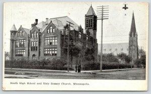 Minneapolis MN~South High School (Now Gone)~Holy Rosary Catholic Church~c1910 PC