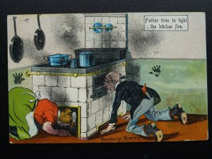 Servant & Maid Theme FATHER TRIES TO LIGHT THE KITCHEN FIRE c1907 Postcard
