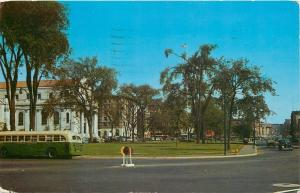 Waterbury CT~The Green~Elton Hotel~Immuculate Conception Church~1950s Tour Bus