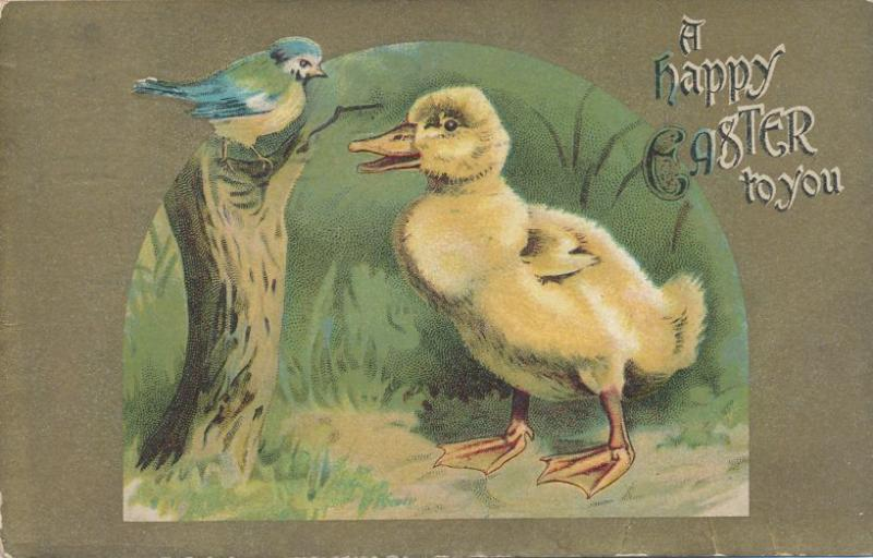 Happy Easter Greetings to You - Bluebird and Duck - pm 1914 - DB