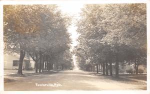 Fowlerville Michigan~Residential Street Scene~Trees Line Sidewalk~1946 RPPC