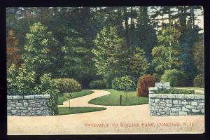 Concord, New Hampshire/NH Postcard, Rollins Park Entrance