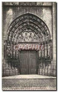 Old Postcard The Senlis cathedral Central portal