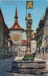 Switzerland Bern Zeitglockenturm und Zähringerbrunnen 02.92