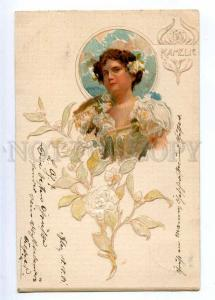 189564 ART NOUVEAU Nymph KAMELIE Fairy Vintage EMBOSSED PC