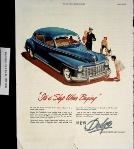 1947 Dodge Car Navy Admiral All Fluid Drive Vintage Print Ad 5827