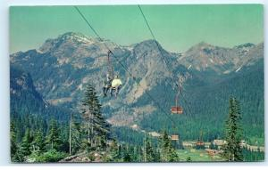 *Snoqualmie Pass Washington Chair Lift Mountain Cascade Range Old Postcard A18