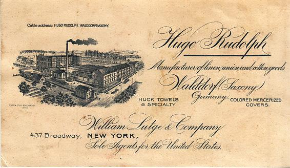 Large  Business Card - Textile Mfg. in Germany - US Agent