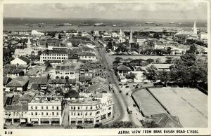singapore, Aerial View from Bras Basam Road, Tiong Hoa Hotel Bar (1950s) RPPC