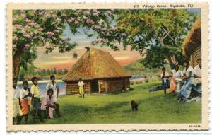 Village Scene People Sigatoka Fiji linen postcard